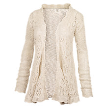 Buy Fat Face Corby Crochet Waterfall Cotton Cardigan, Ivory Online at johnlewis.com