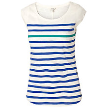 Buy Fat Face Cap Sleeve Stripe Cotton T-shirt, Ivory Online at johnlewis.com