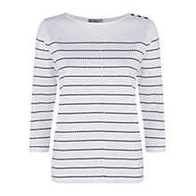 Buy Hobbs Spot Stripe T-Shirt, White Navy Online at johnlewis.com