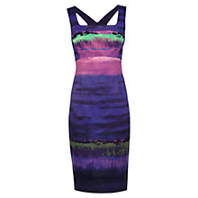 Buy Karen Millen Stripe Print Dress, Purple Online at johnlewis.com