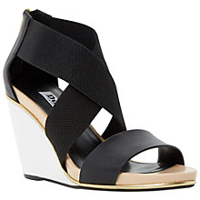 Buy Dune Kaye Leather Wedges, Black Online at johnlewis.com