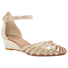 Buy Dune Knightly Leather Cut Away Wedge Heeled Sandals Online at johnlewis.com