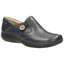 Buy Clarks Unloop Leather Shoe Boots, Navy Online at johnlewis.com