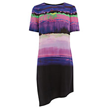 Buy Karen Millen Stripe Silk Dress, Purple Online at johnlewis.com