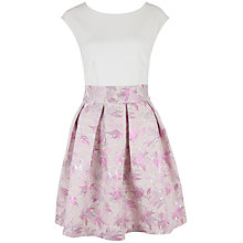 Buy Closet Metallic Jacquard Pleat Dress, Pink/White Online at johnlewis.com