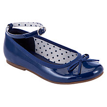 Buy John Lewis Patent Ankle Strap Ballet Pumps, Navy Online at johnlewis.com