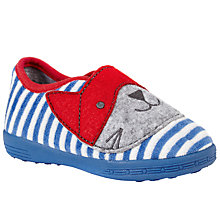 Buy John Lewis Super Cat Stripe Slippers, Blue/Red Online at johnlewis.com