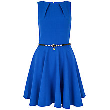 Buy Closet Flared Belted Dress, Blue Online at johnlewis.com