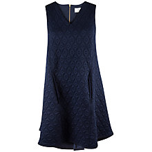 Buy Closet Quilted Pleat Back Shift Dress, Navy Online at johnlewis.com