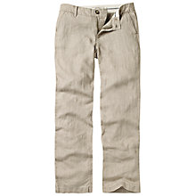 Buy Fat Face Linen Straight Leg Trousers, Sandstone Online at johnlewis.com