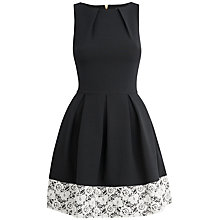 Buy Closet Lace Hem Dress, Black/White Online at johnlewis.com