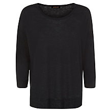 Buy Jaeger Linen Slouchy Jumper, Black Online at johnlewis.com