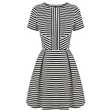 Buy Warehouse Stripe Fit and Flare Dress, Black/White Online at johnlewis.com
