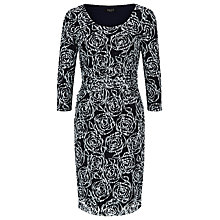Buy Precis Petite Lace Print Three Quarter Sleeve Dress, Black / White Online at johnlewis.com