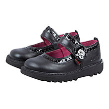 Buy Kickers Brogbar Leather School Shoes, Black Online at johnlewis.com