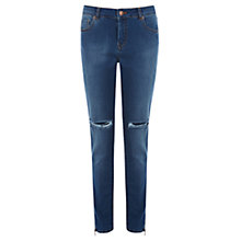 Buy Warehouse Zip Hem Ripped Jeans, Indigo Denim Online at johnlewis.com