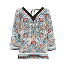 Buy Warehouse Aztec Print V-Neck Blouse, Multi Online at johnlewis.com