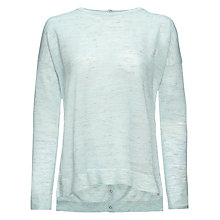 Buy Whistles Popperback Step Hem Boxy Knit, Aqua Online at johnlewis.com