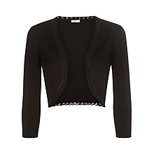 Buy Precis Petite Edge Detail Knit Shrug, Black Online at johnlewis.com