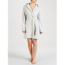 Buy John Lewis Stripe Jersey Hooded Robe, Grey Online at johnlewis.com