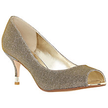 Buy Dune Denise Peep Toe Court Shoes, Gold Online at johnlewis.com