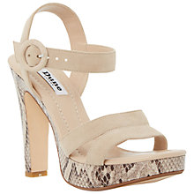 Buy Dune Marthaa High Block Heeled Sandals, Nude Suede Online at johnlewis.com