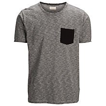Buy Selected Homme Contrast Pocket Crew Neck T-Shirt, Grey Online at johnlewis.com