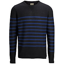 Buy Selected Homme One Crew Neck Stripe Jumper, Black/Navy Online at johnlewis.com