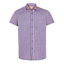 Buy BOSS Orange Short Sleeve Gingham Shirt, Purple Online at johnlewis.com