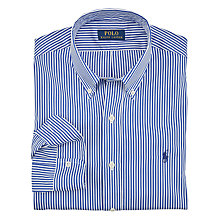 Buy Polo Ralph Lauren Poplin Long Sleeve Shirt, Blue/White Online at johnlewis.com