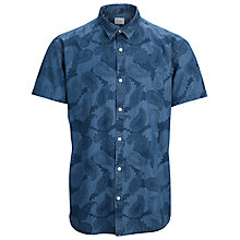 Buy Selected Homme Sley Denim Paisley Print Short Sleeve Shirt, Medium Blue Online at johnlewis.com