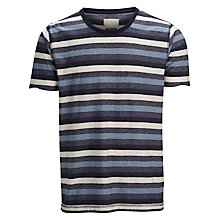 Buy Selected Homme Stripy Cotton T-Shirt, Egret/Faded Denim Online at johnlewis.com