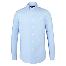 Buy Polo Ralph Lauren Poplin Long Sleeve Gingham Shirt, Blue/White Online at johnlewis.com