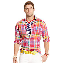 Buy Polo Ralph Lauren Check Long Sleeve Linen Shirt, Ruby/Yellow Online at johnlewis.com