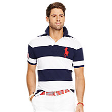 Buy Polo Ralph Lauren Custom Fit Striped Polo Shirt, Navy/White Online at johnlewis.com
