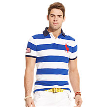 Buy Polo Ralph Lauren America's Cup Custom Fit Stripe Polo Shirt, Blue/White Online at johnlewis.com