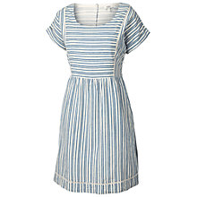 Buy Fat Face Striped Dress, Ivory Online at johnlewis.com