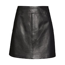 Buy Whistles Leather Mini Skirt, Black Online at johnlewis.com