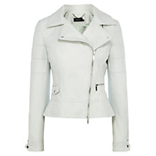 Buy Karen Millen Pastel Leather Biker Jacket, Pale Blue Online at johnlewis.com