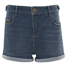 Buy Mint Velvet Pebble Wash Turn Up Shorts, Blue Online at johnlewis.com