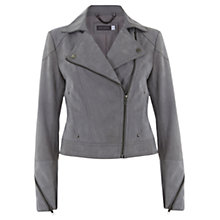 Buy Mint Velvet Suede Biker Jacket, Dove Grey Online at johnlewis.com