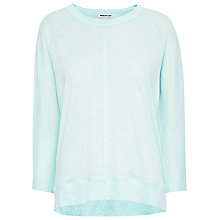 Buy Whistles Linen Holly Three Quarter Sleeve T-Shirt, Aqua Online at johnlewis.com