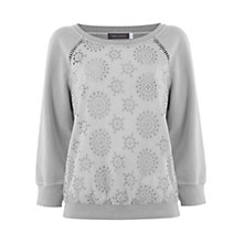 Buy Mint Velvet Broderie Sweatshirt, Dove Grey Online at johnlewis.com
