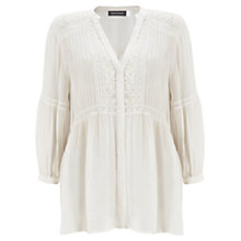 Buy Mint Velvet Pintuck Embroidered Blouse, Ivory Online at johnlewis.com