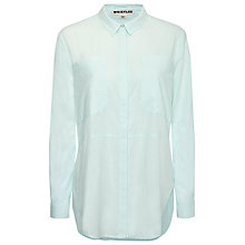 Buy Whistles Romy Longline Pocket Linen Shirt, Pale Green Online at johnlewis.com