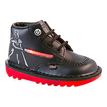 Buy Kickers Star Wars Darth Vader Lightsabre Leather Shoes, Black/Red Online at johnlewis.com