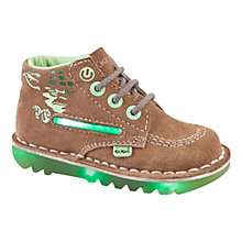 Buy Kickers Star Wars Yoda Lightsabre Suede Light-Up Shoe, Tan/Green Online at johnlewis.com