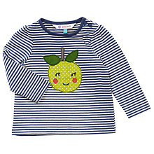 Buy John Lewis Baby Long Sleeve Apple T-Shirt, Navy/White Online at johnlewis.com