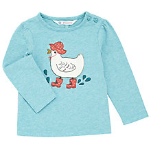 Buy John Lewis Baby Long Sleeve Chick T-Shirt, Pastel Blue Online at johnlewis.com