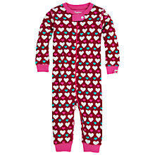 Buy Hatley Baby Heart Footless Sleepsuit, Berry Online at johnlewis.com